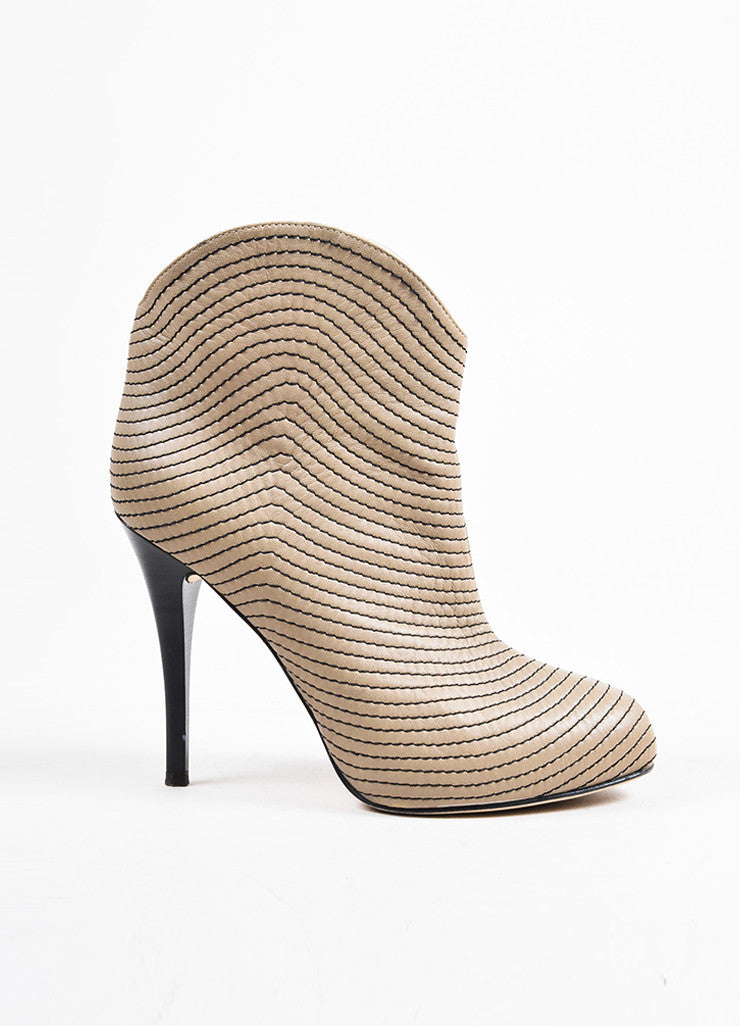 Giuseppe Zanotti Taupe Leather Concealed Platform Booties Sideview