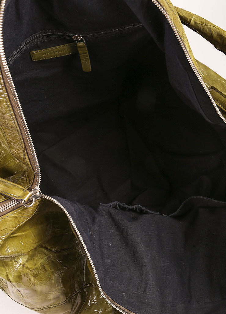 "Givenchy Green Crinkle Patent Leather Large ""Nightingale"" Tote Bag Interior"