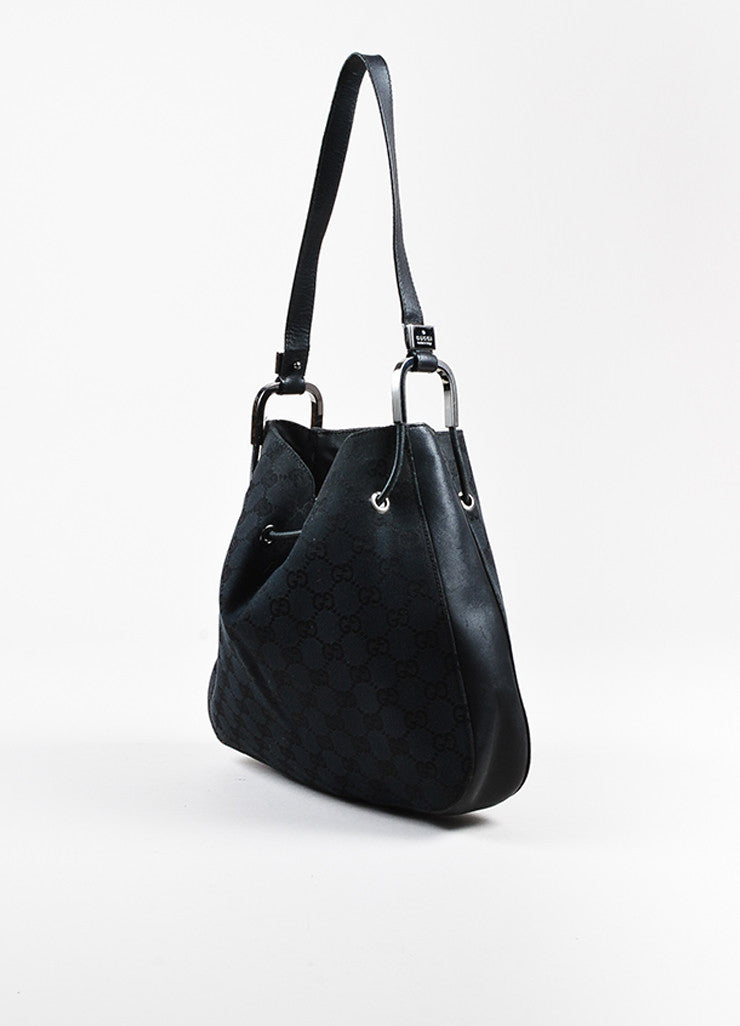 Black Gucci Canvas Leather Monogram Print Structured Hobo Bag Side