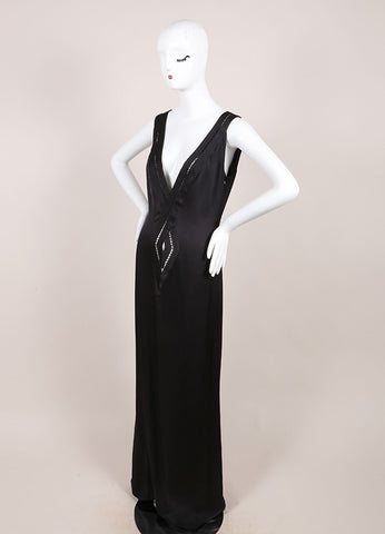 Guy Laroche Black Silk Cut Out V-Neck Sleeveless Maxi Dress Sideview