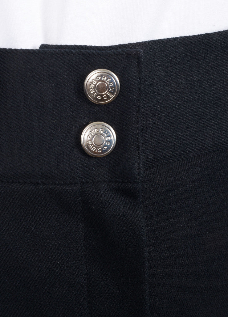 Hermes Black Twill Slim Fit Riding Pants Detail