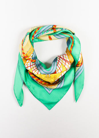 "Hermes Green, Blue, and Gold Silk ""Grande Tenue"" Dragon Crown Buckle Print Scarf Frontview"