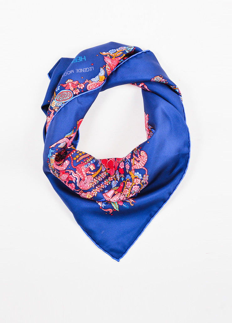 "Hermes Navy Blue and Pink Silk Animal Print ""Legende Moghole"" Square 90cm Scarf Frontview"