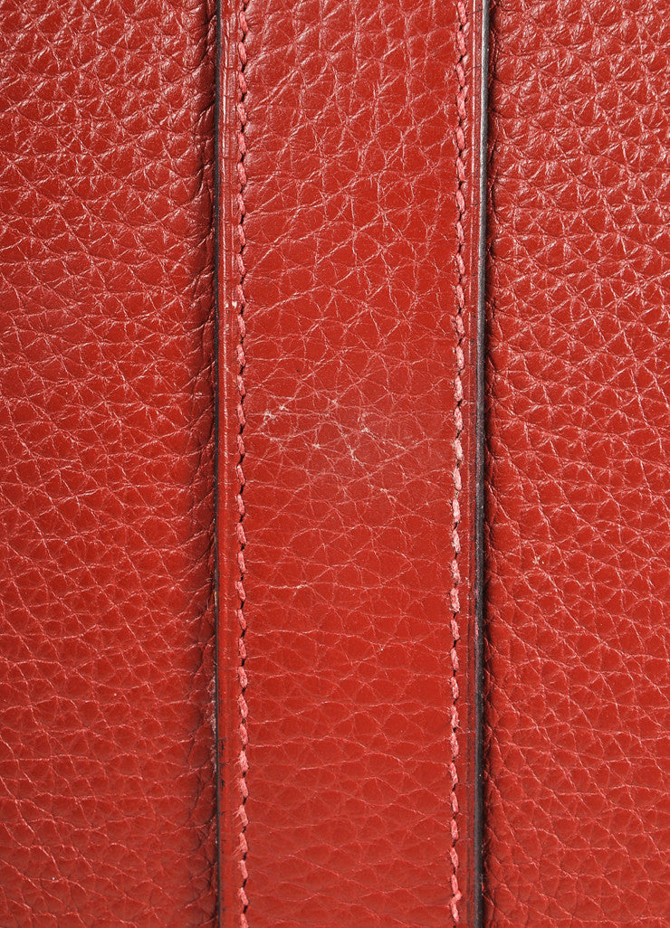 "Hermes Red ""Rouge H"" and Silver Toned Clemence Leather 42cm Shoulder Birkin Bag Detail 6"