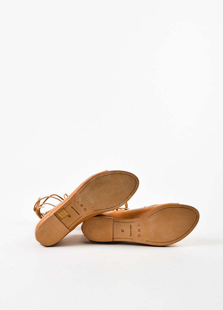 "IRO Camel Leather Studded Laced Up ""Xiri"" Flat Gladiator Sandals Outsoles"
