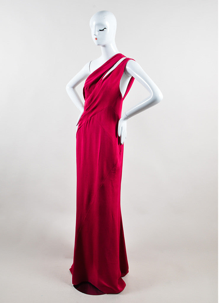 J. Mendel  Fuchsia Berry Red Silk One Shoulder Floor Length Gown Sideview