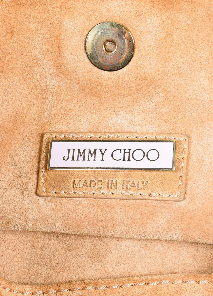 Camel and Gold Toned Jimmy Choo Leather Suede Perforated Expandable Handbag