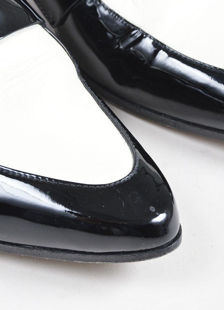 "Jimmy Choo Black and White Patent Leather Monk Strap ""Mardi"" Loafers Detail"