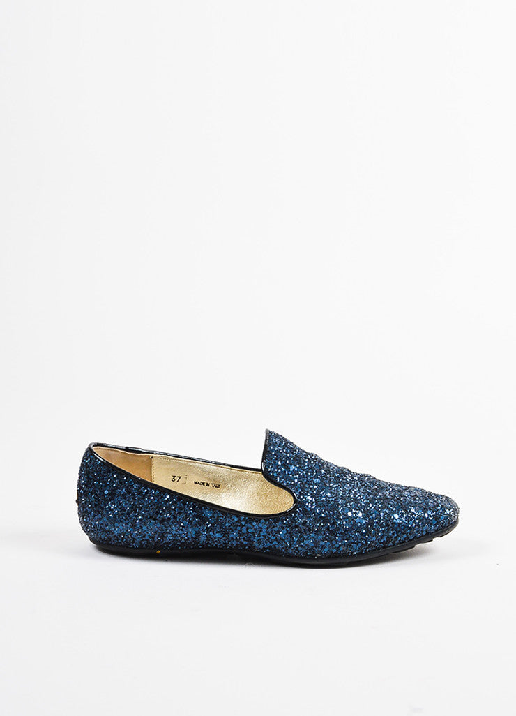 Jimmy Choo Navy Blue and Black Chunky Glitter Flat Loafers Sideview