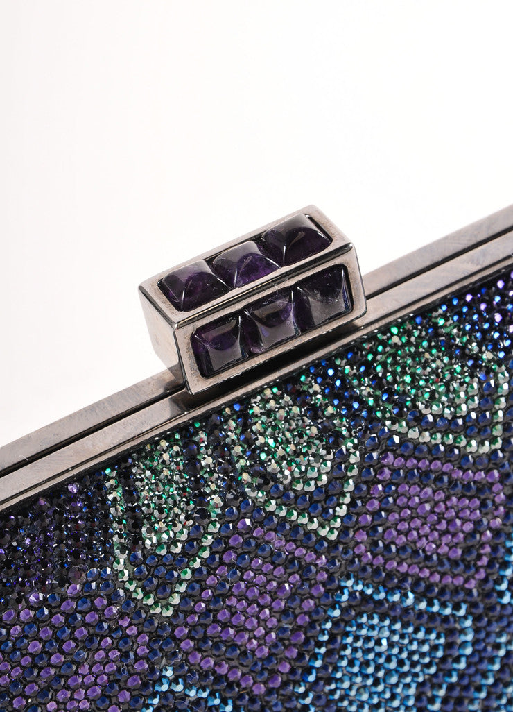 Judith Leiber New With Tags Blue, Purple, and Green Crystal Encrusted Minaudiere Clutch Bag Detail 2