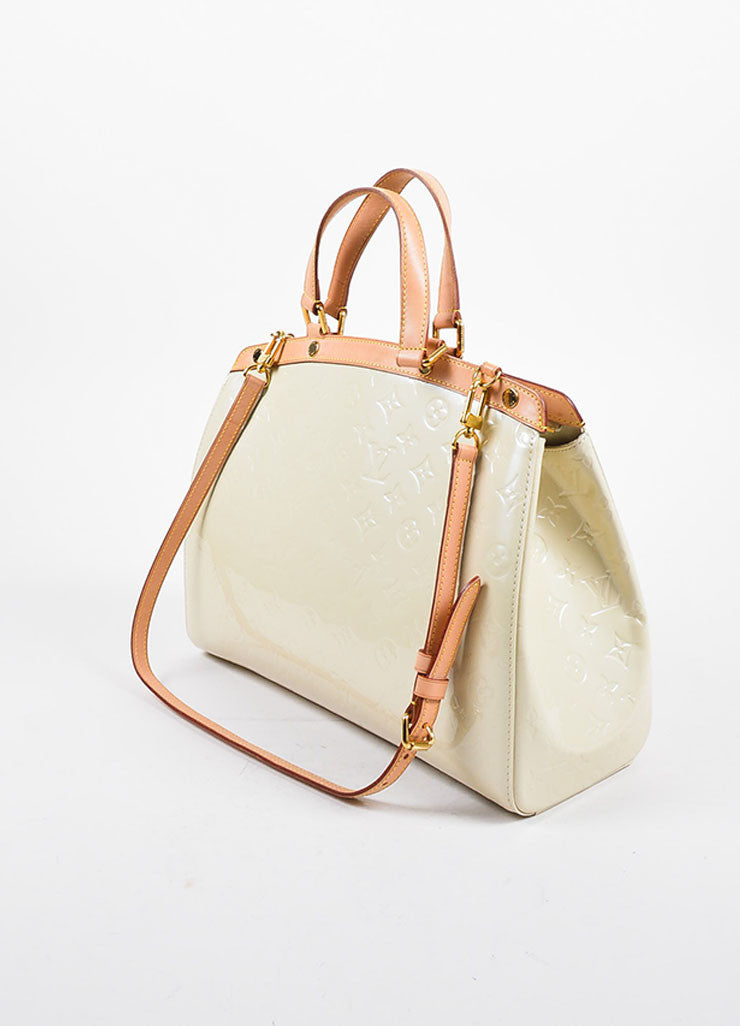 "Beige and Tan Louis Vuitton Vernis Patent Leather Embossed Monogram ""Brea GM"" Bag Sideview"