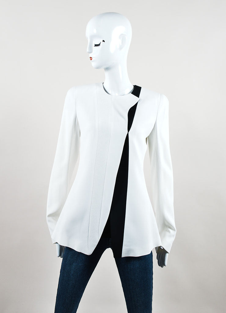 White and Black Crepe Two Tone Narciso Rodriguez Structured Jacket Frontview