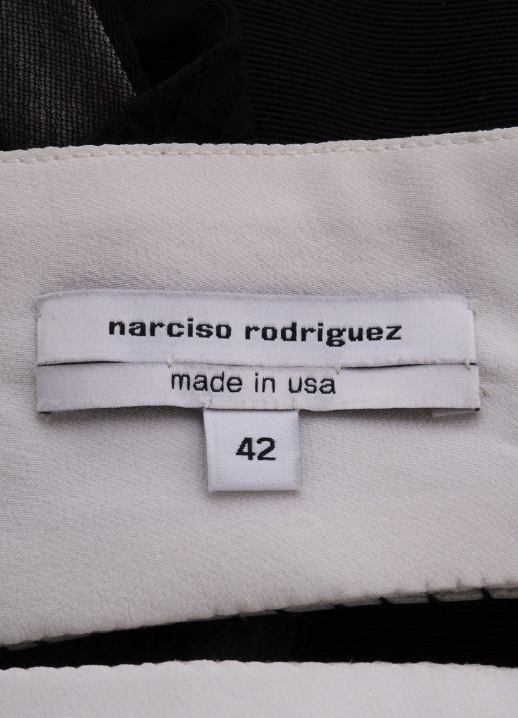 Narciso Rodriguez Black and White Silk Strapless Dress Brand