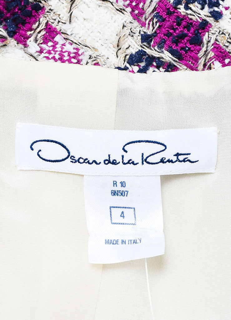 Purple Navy White Tweed Oscar de la Renta Jacket Brand