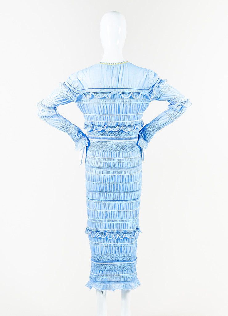 "Peter Pilotto Blue and White Ruffled Long Sleeve ""Atmos"" Maxi Dress Backview"