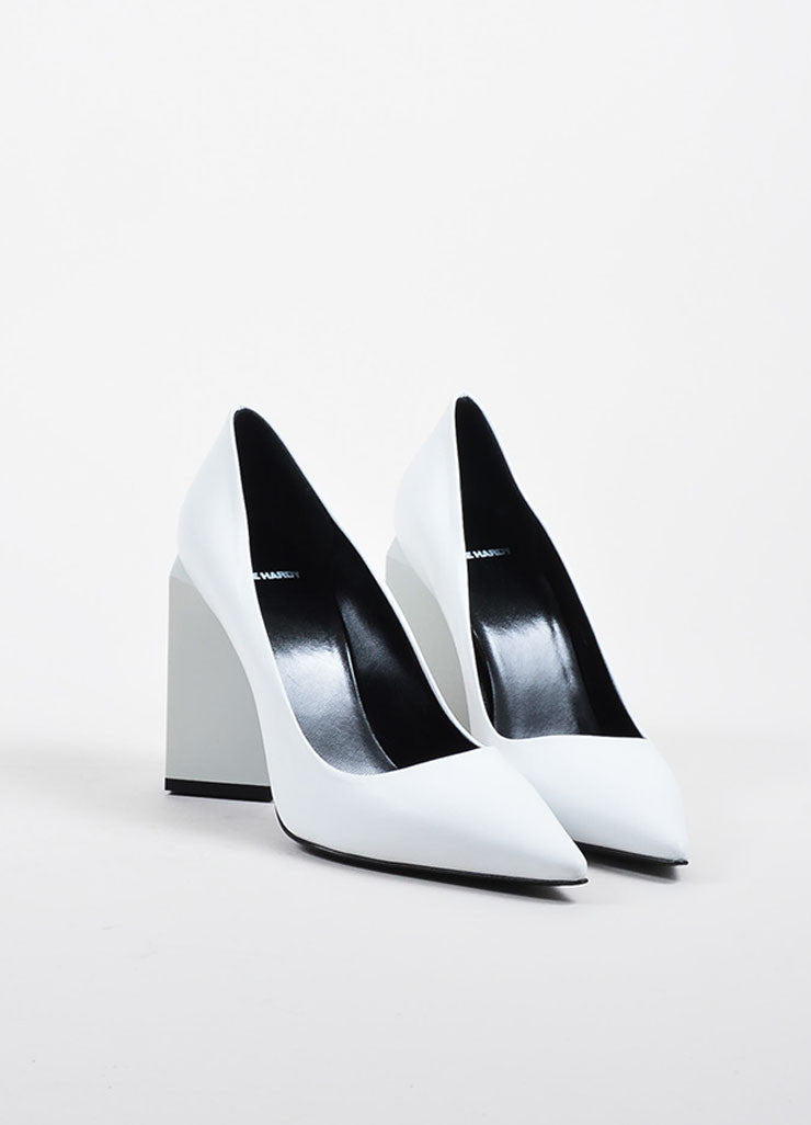 "White Leather Pierre Hardy ""Monolite"" Chunky Heel Pointed Pumps Frontview"
