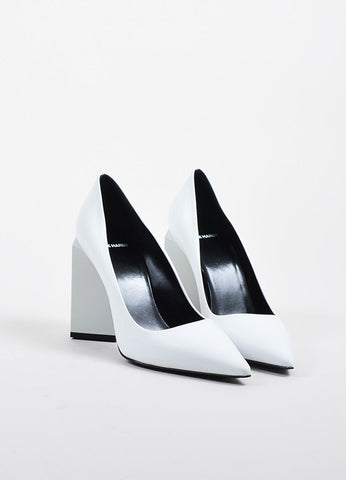 "White Leather •ÈÀPierre Hardy ""Monolite"" Chunky Heel Pointed Pumps Frontview"