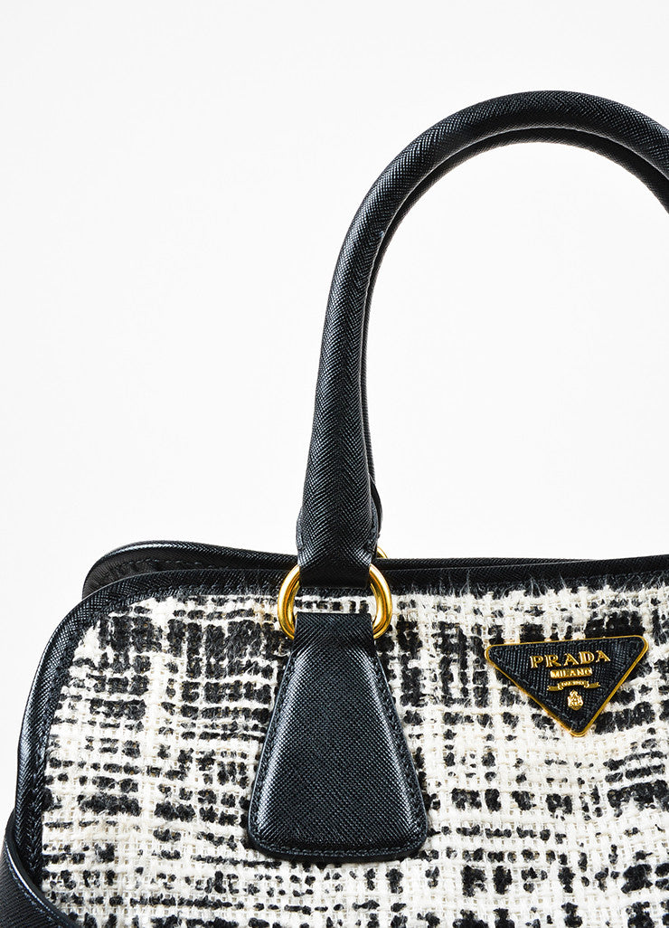 "Prada Black and Cream Tweed Saffiano Leather Trim ""North South"" Tote Bag Detail 2"