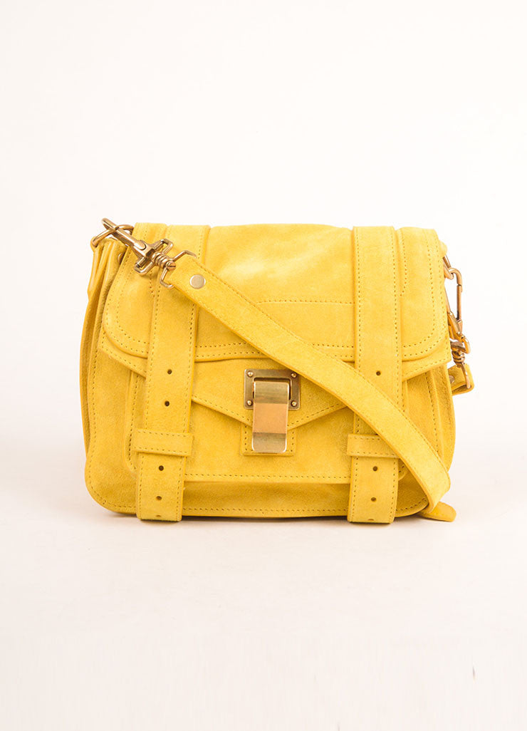 "Proenza Schouler Dark Yellow Suede ""PS1"" Small Messenger Crossbody Bag Frontview"