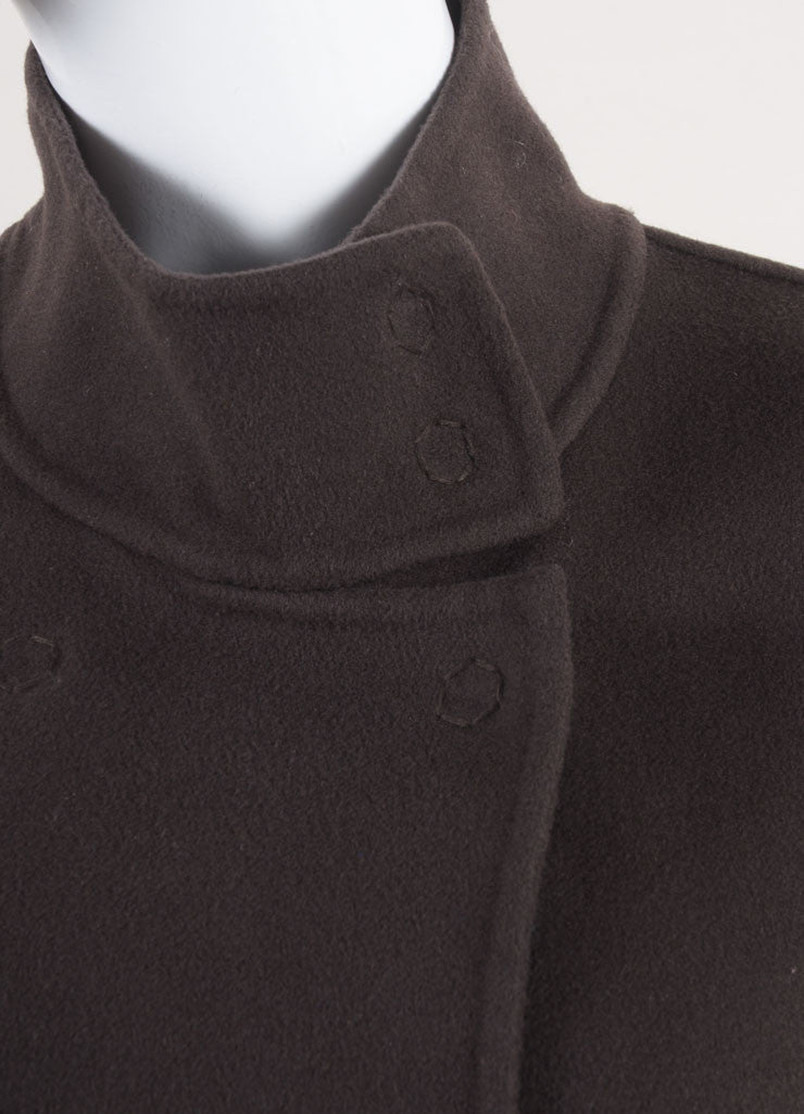 Rene Lezard New With Tags Brown Wool and Cashmere Blend Double Faced Coat Detail