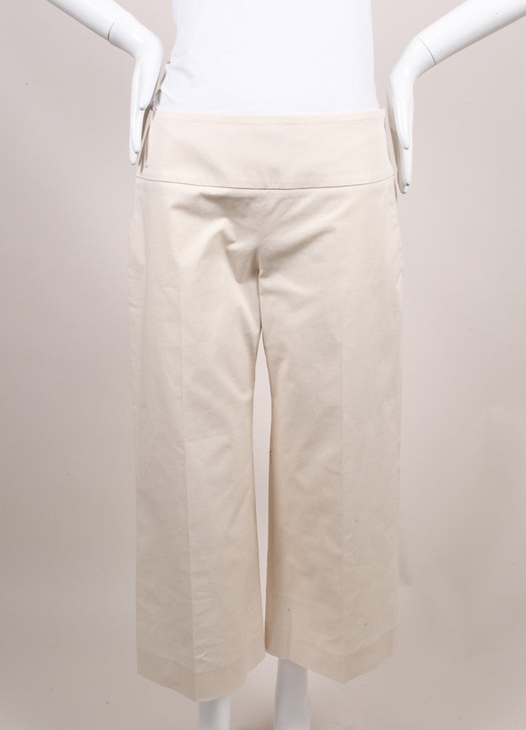 "The Row New With Tags Cream Stretch Cotton Twill Cropped Wide Leg ""Crosha"" Pants Frontview"