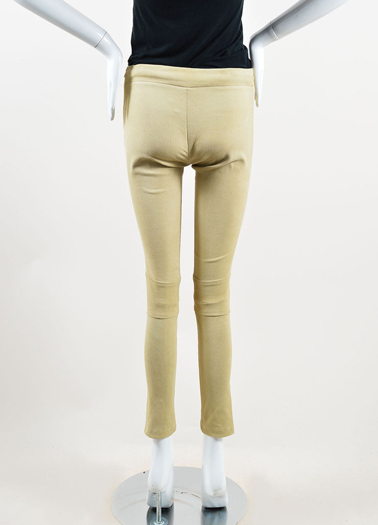 The Row Tan Lizard Embossed Suede Skinny Legging Pants Backview