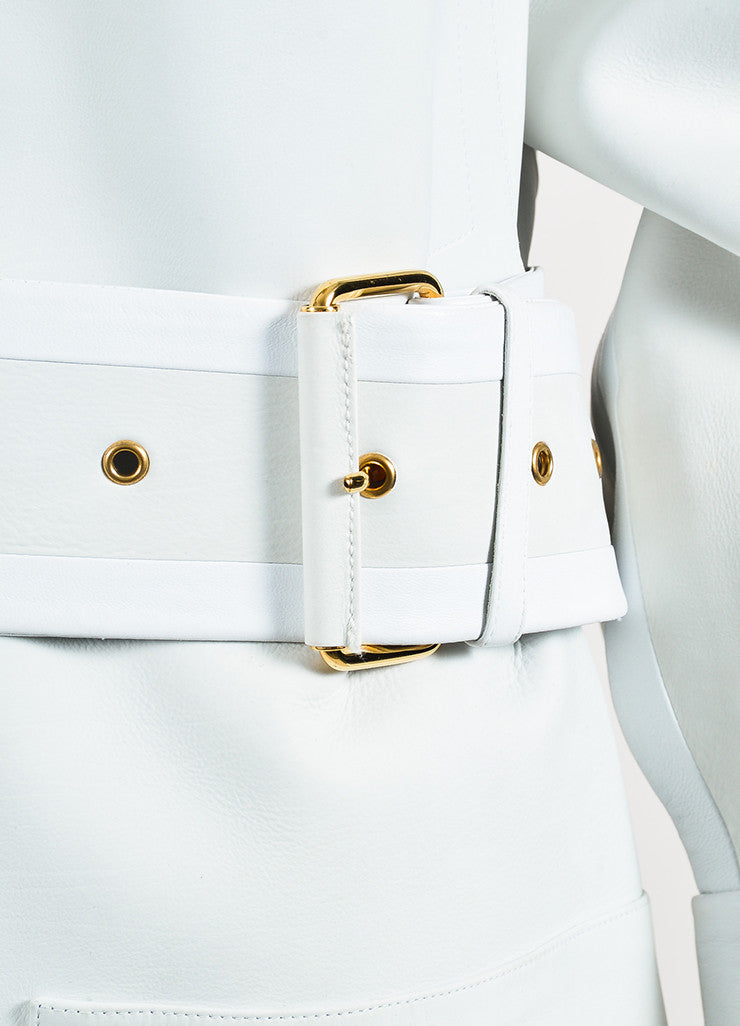 Off White and Grey Tom Ford Calf and Lamb Leather Long Belted Trench Coat Detail