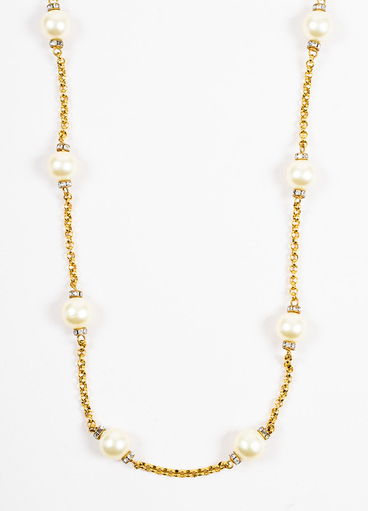Chanel Gold Toned Metal Faux Pearl Crystal Strand Necklace Detail