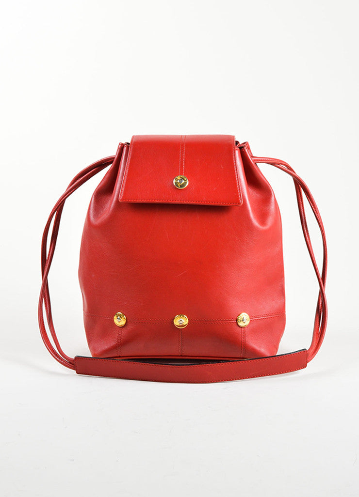 Givenchy Red Leather Gold Toned Studded Bucket Bag Frontview
