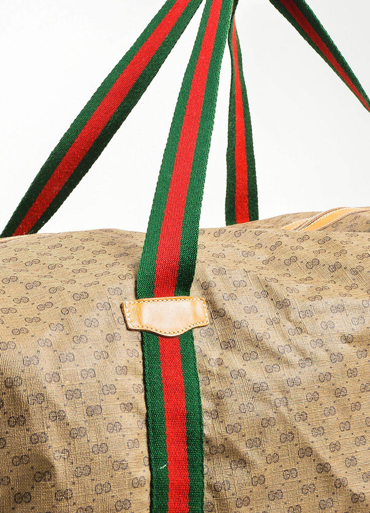 Gucci Brown Coated Canvas Leather Trim 'GG' Monogram Striped Duffel Bag Detail 2