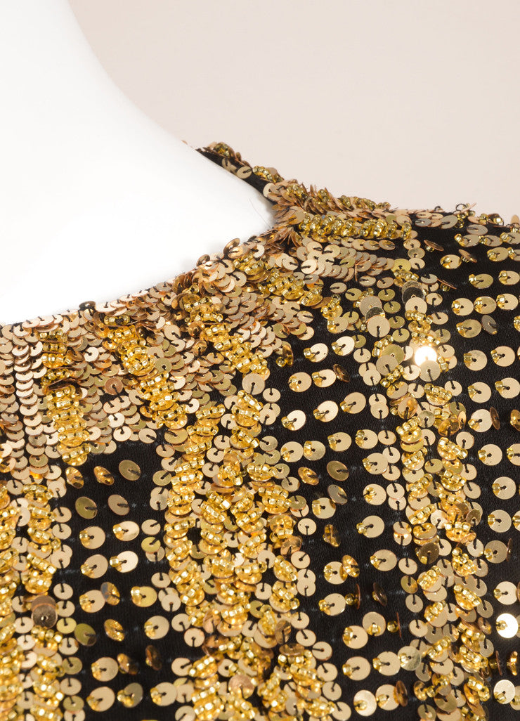 Victoria Royal Ltd. Gold and Black Sequin and Bead Embellished Long Sleeve Top Detail