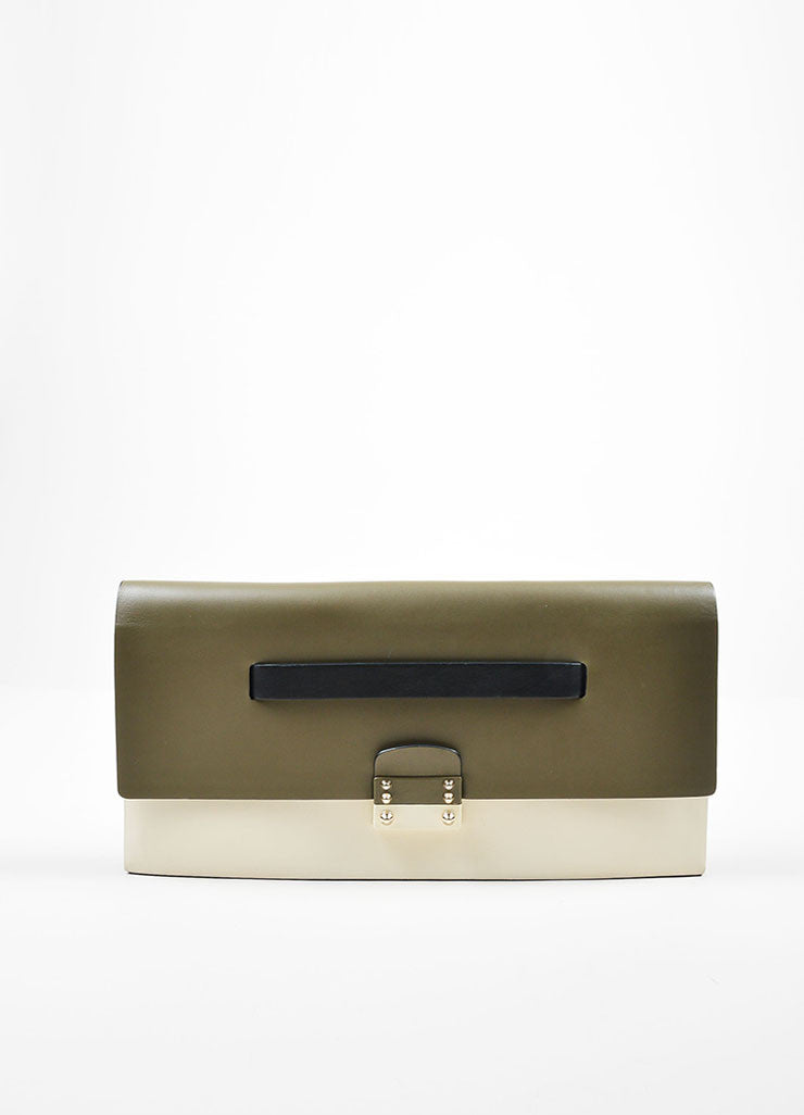 Green, White, and Black Color Block Valentino Leather Rectangle Clutch Bag Frontview
