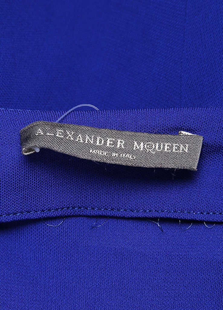 Alexander McQueen Royal Blue Ruched Sleeveless Dress Brand
