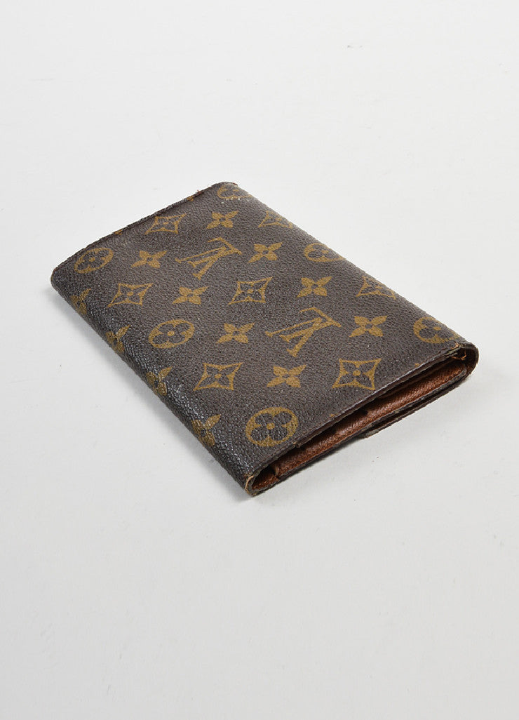 "Brown and Tan Louis Vuitton Monogram ""Porte-tresor International"" Long Wallet Sideview"
