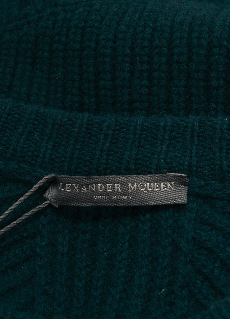 Alexander McQueen New With Tags Forest Green Wool and Cashmere Chunky Knit Sweater  Brand