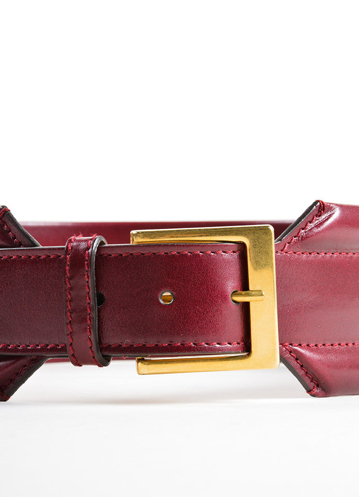 Alexander McQueen Oxblood Red Leather Traditional Wide Belt Detail