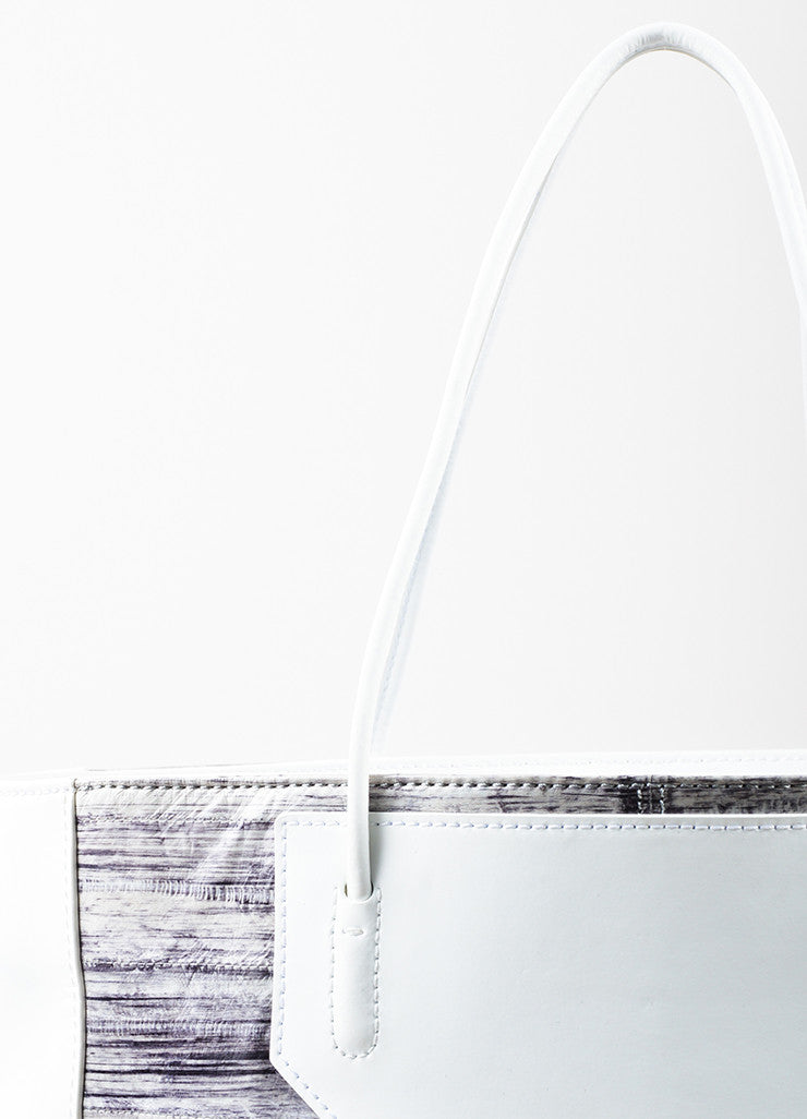 "Alexander Wang White and Grey Painted Eel Leather ""Prisma"" Tote Bag Detail 2"
