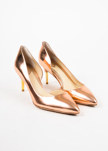 "B Brian Atwood Metallic Rose Gold Leather Pointed Toe ""Macias"" Pumps Frontview"