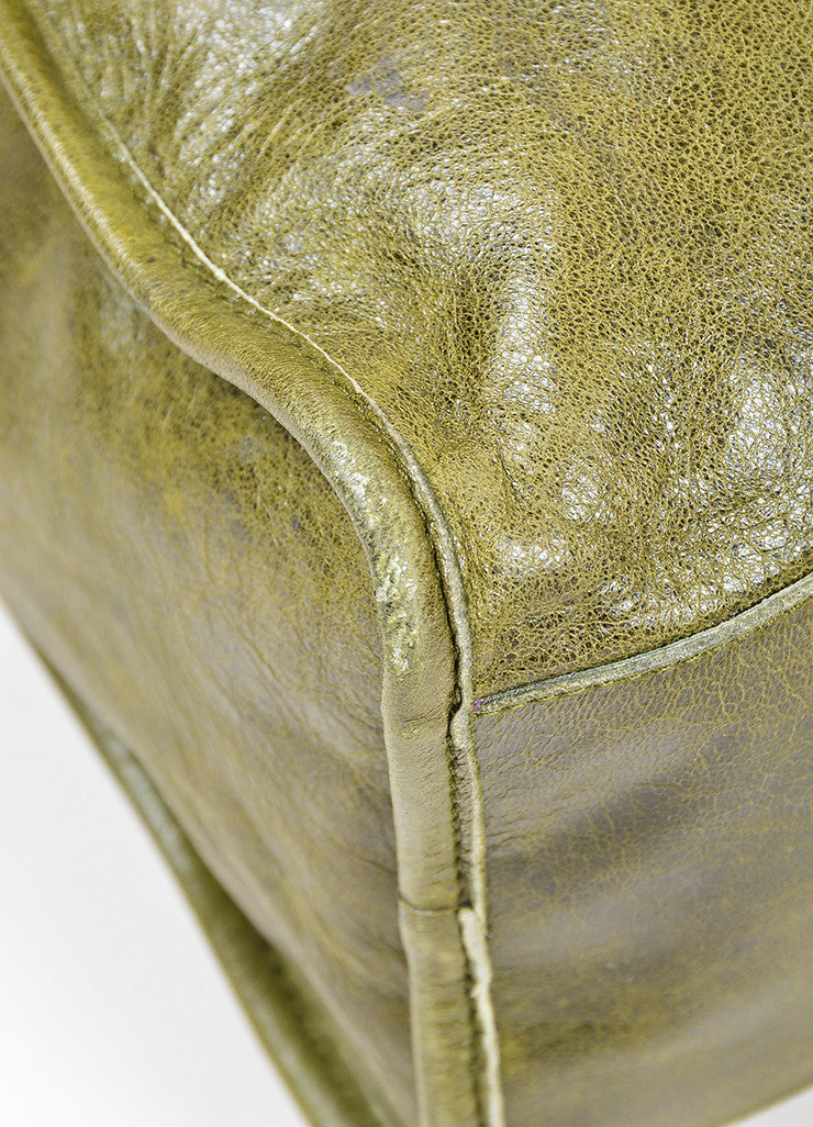"Green Balenciaga ""Motocross Classic City"" Distressed Leather Satchel Bag Detail"