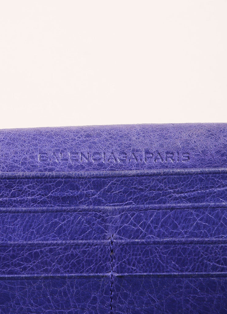 Balencaiga Purple Distressed Leather Studded Wallet Detail 2