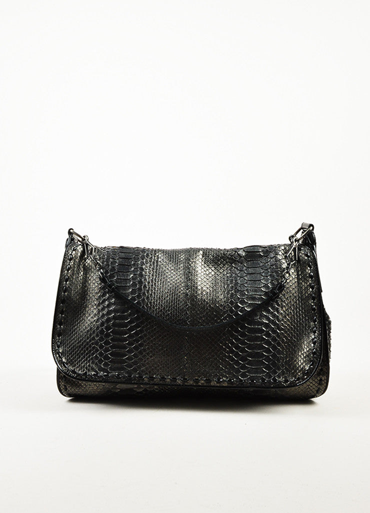 ¥éËBottega Veneta Black Gunmetal Metallic Python Leather Shoulder Messenger Bag Frontview