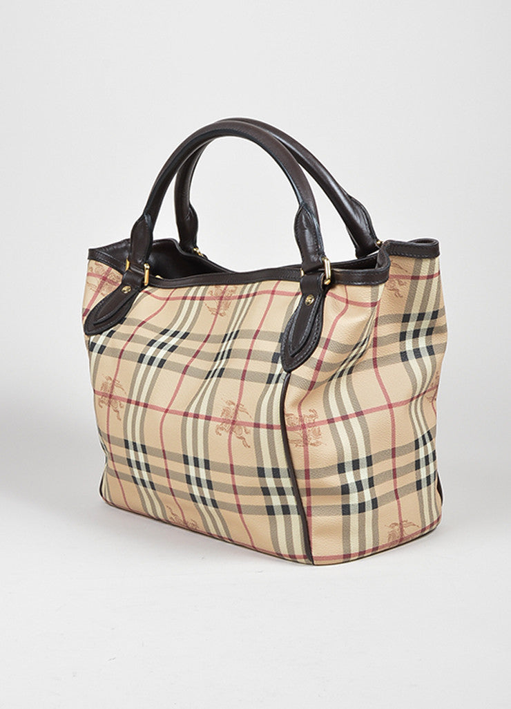 Brown and Tan Burberry Haymarket Plaid Leather Large Open Top Tote Bag Sideview
