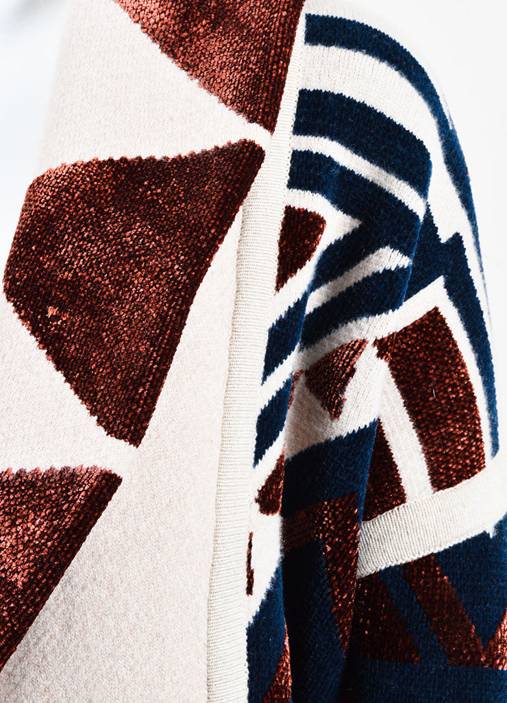 •ÈÀBurberry Prorsum Beige, Navy, and Red Wool Blend Geometric Print Sweater Coat Detail