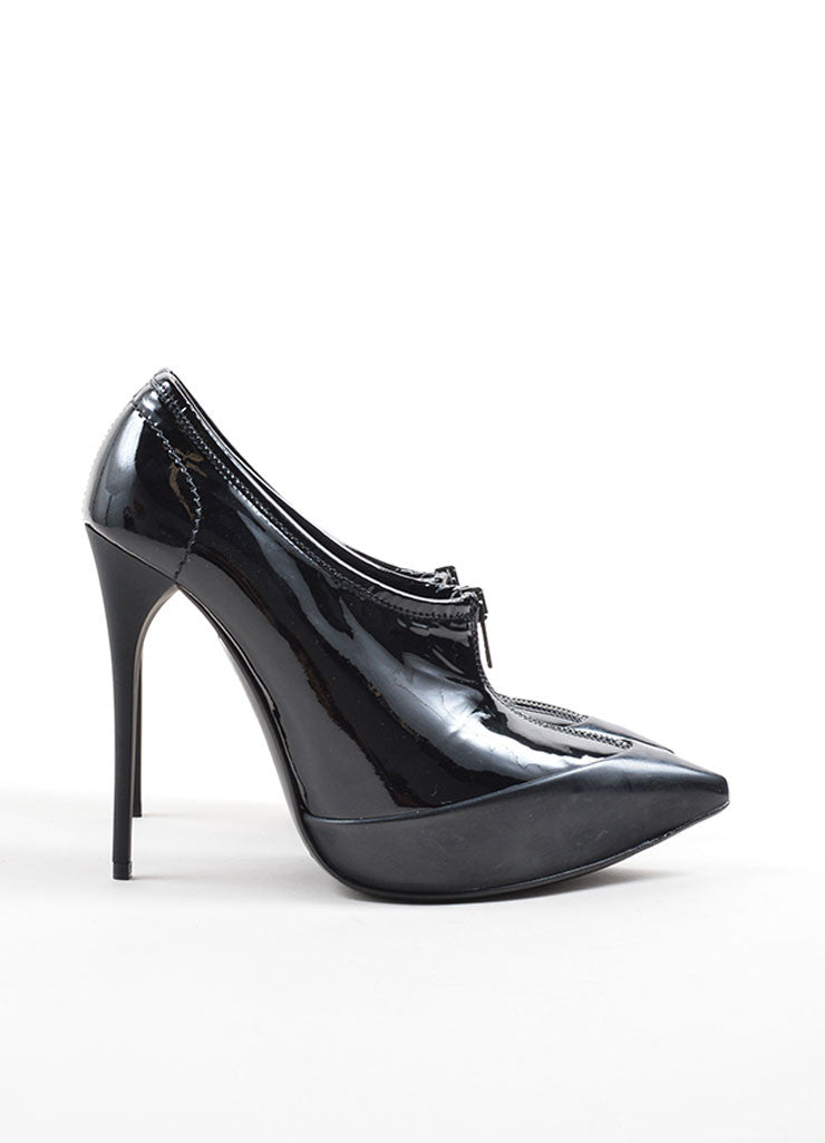 Burberry Prorsum Black Patent Leather Pointed Toe Zip Platform Booties Sideview