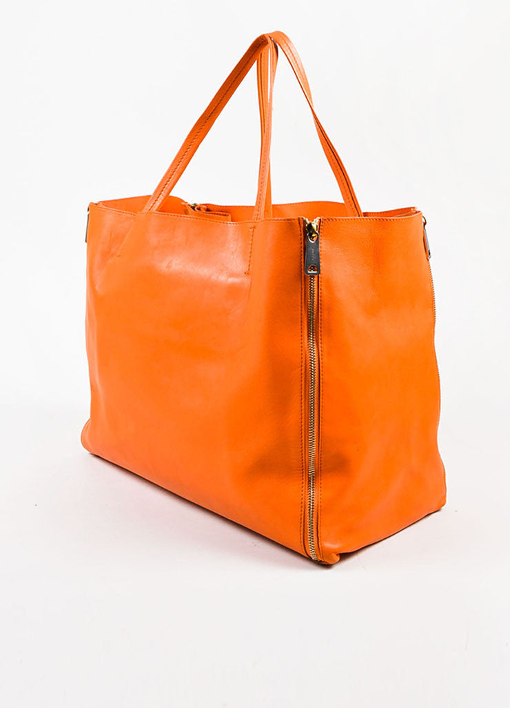 "Celine Orange Leather ""Horizontal Gusset Cabas"" Tote Bag Sideview"