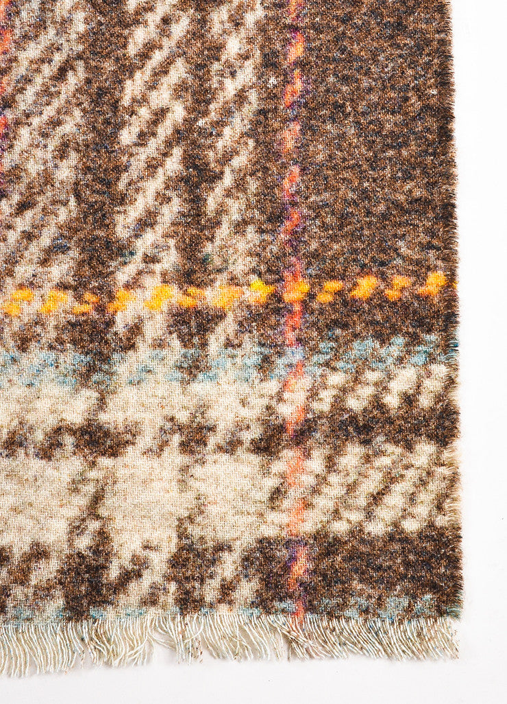 Chanel Brown and Multicolor Cashmere Houndstooth and 'CC' Patterened Reversible Scarf Detail 2