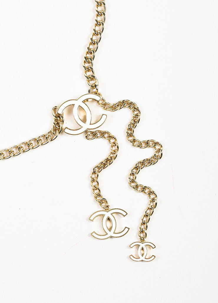 Chanel Gold Toned and White Chain Link 'CC' Medallion Belt Detail