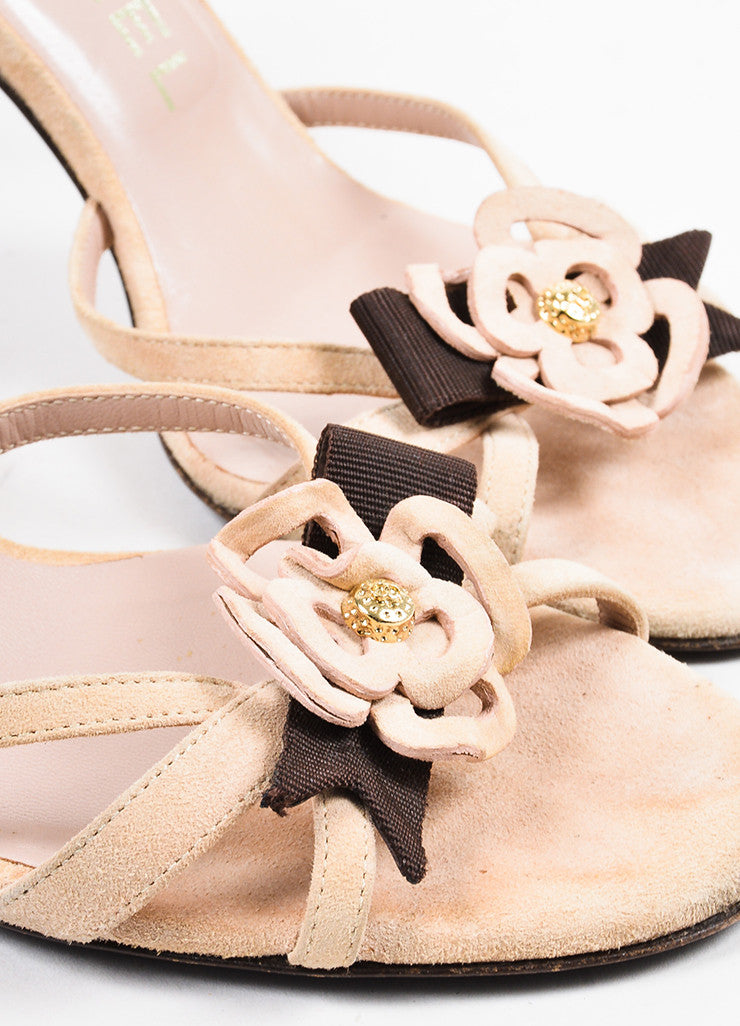 Chanel Light Beige, Brown, and Gold Suede Camellia Flower Slide Sandals Detail