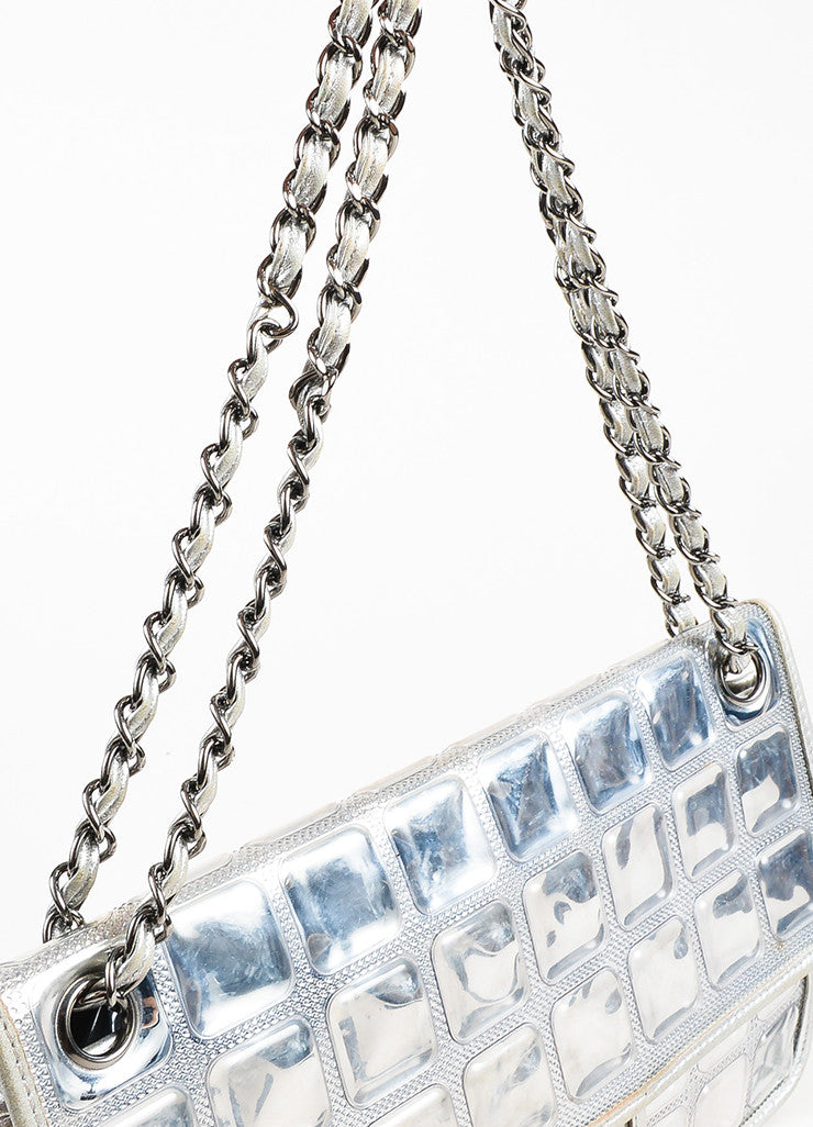 "Chanel Silver Metallic Leather Coated ""Ice Cube"" Classic Flap Shoulder Bag Detail 2"