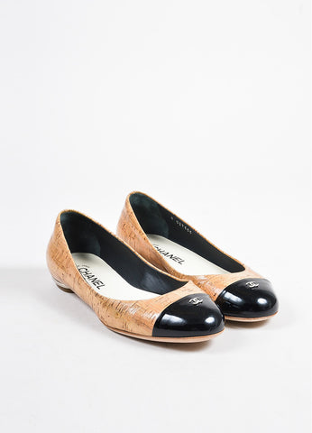 Tan, Black, and Silver Toned Chanel Cork and Leather Cap Toe Ballerina Flats Frontview